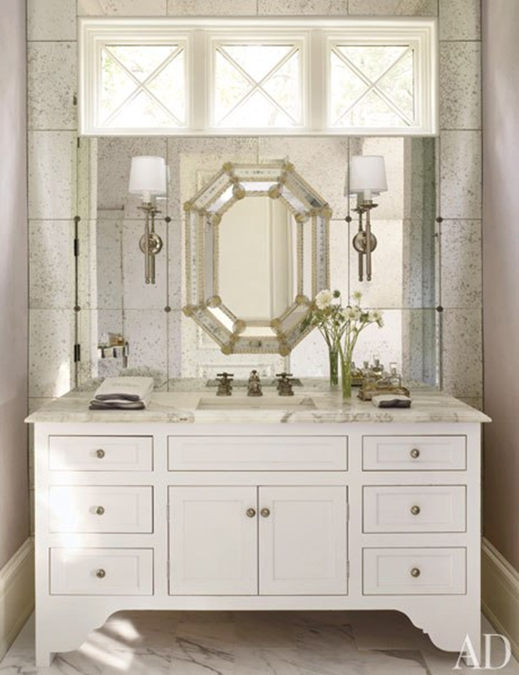 glam bathroom with layered mirrors - Suzane Kasler