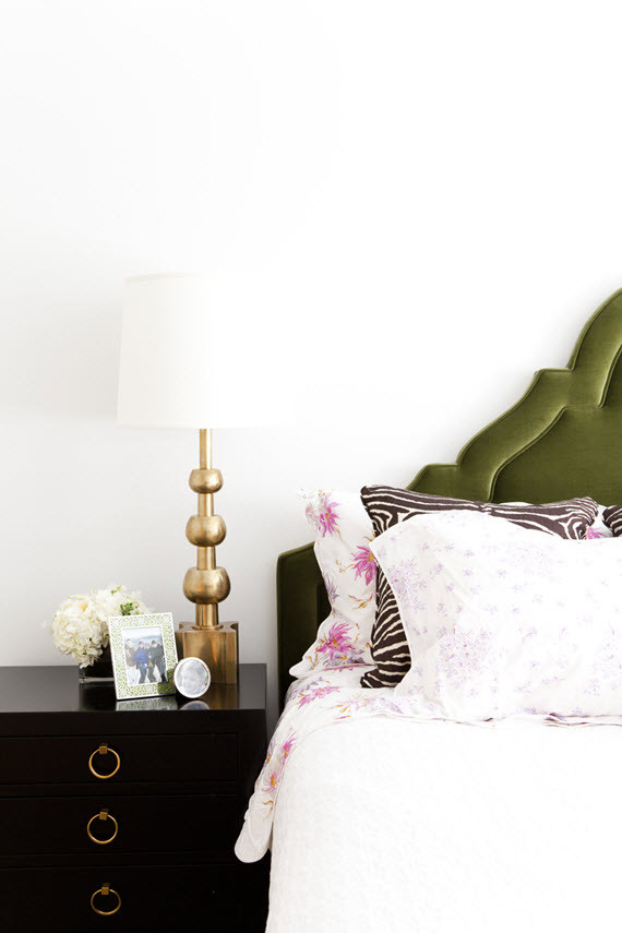 green-velvet headboard // lilly bunn design #green