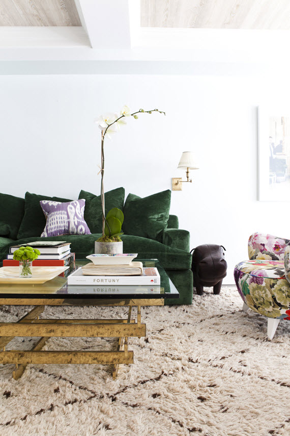 green velvet sofa - living room - lilly bunn #green