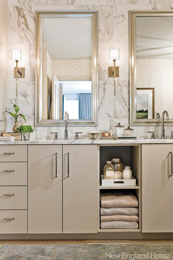 light gray vanity with double sinks - bathroom