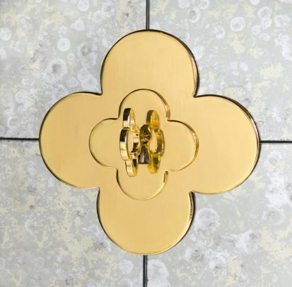 quatrefoil brass cabinet pull
