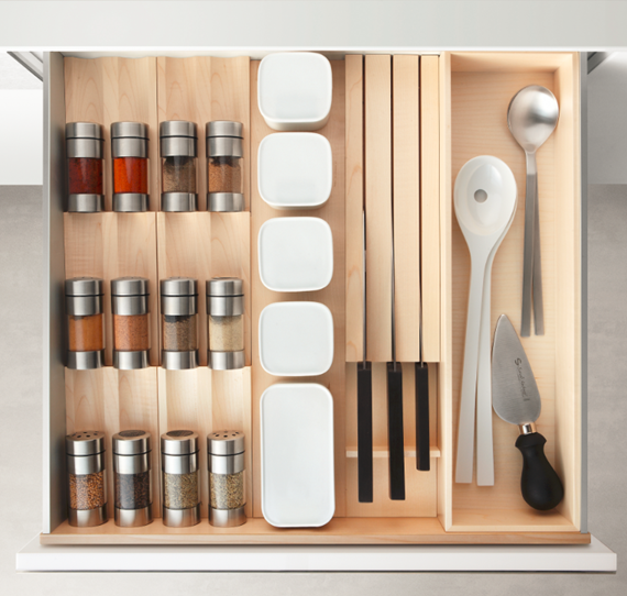 spice and knife drawer - Poggenpohl kitchen cabinets