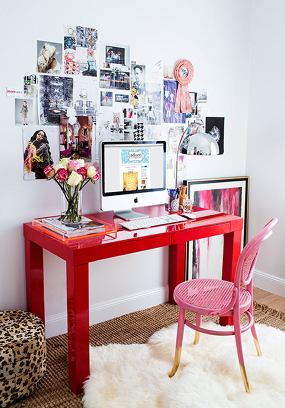 chic teen girls room with desk