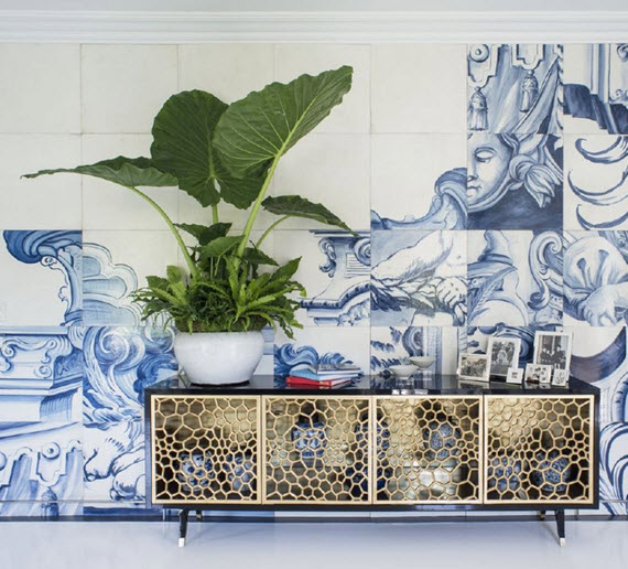 blue and white Portuguese tiles - master bedroom
