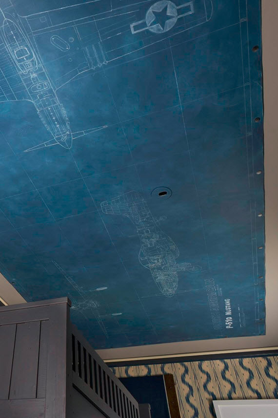 ceiling detail - airplane blueprint - boys bedroom