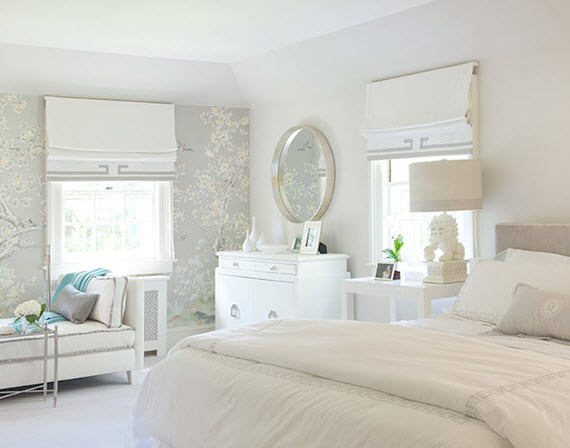 chinoiserie bedroom in gray