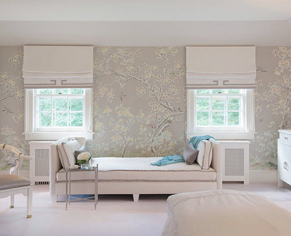 chinoiserie wallpaper in gray and yellow - bedroom - laura tutun interiors