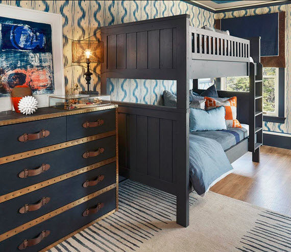 navy blue boys bedroom - Shelley and Co