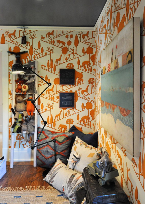 vintage 1970s amimal wallpaper in orange - boys bedroom - Regan Baker Design