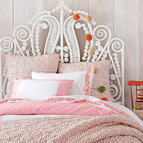 white rattan scroll headboard // girl's bedroom