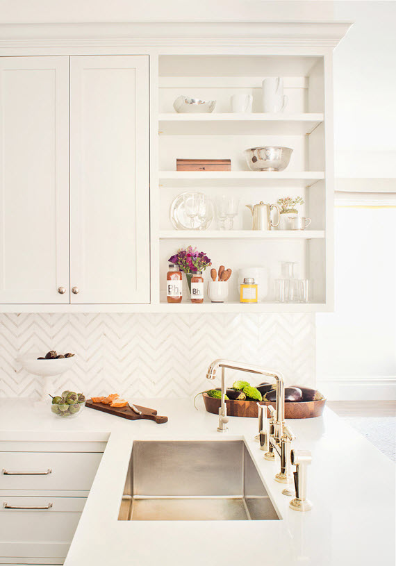 Chevron Backsplash   Designer Kitchen   Jute Home #kitchens