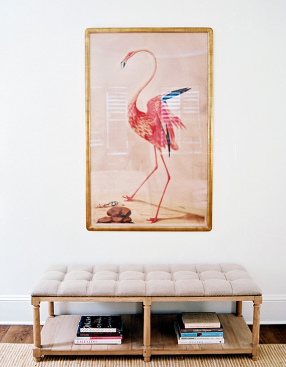 flamingo art and tufted bench