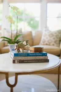 coffee table with books // living room // simplified bee design