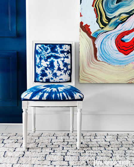 blue chair with  henrique oliveira painting #art #blue #interiordesign