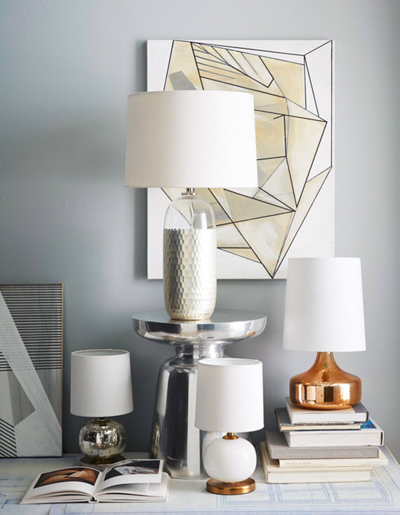 white, brass and glass lamps // west elm #lamps