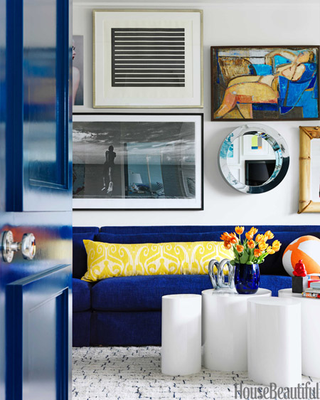 bright blue linen sofa // Robert Passal Interiors