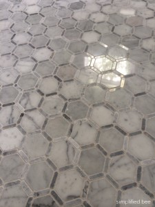carrara marble hexagon tile floor // simplified bee