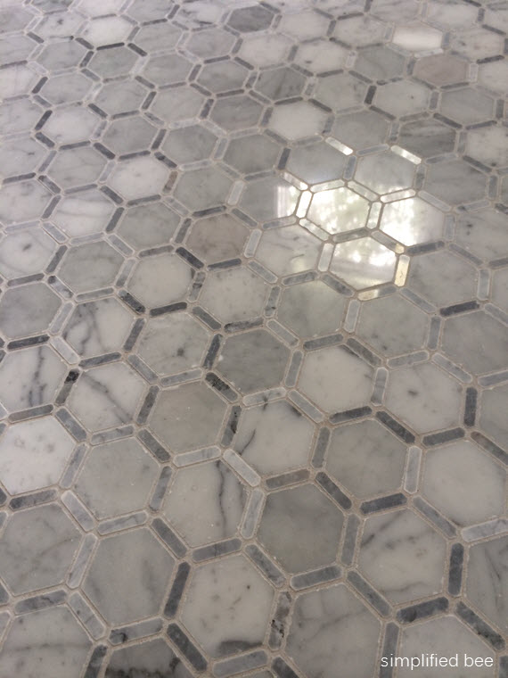 carrara marble hexagon tile floor // simplified bee