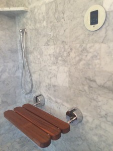 carrara marble tile shower // Mr. Steam // Simplified Bee