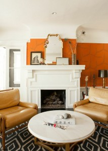 global chic orange living room