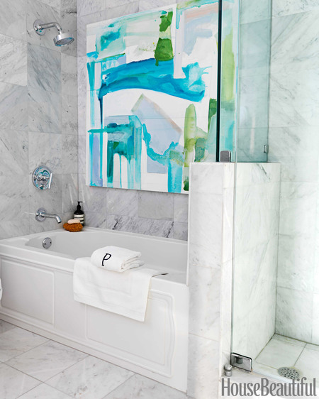 marble square tile in bathroom // Robert Passal