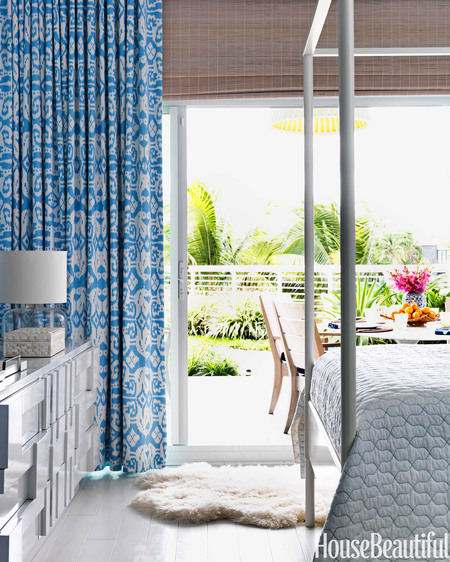 Quadrille Nomad drapery // Miami Beach Apartment // Robert Passal
