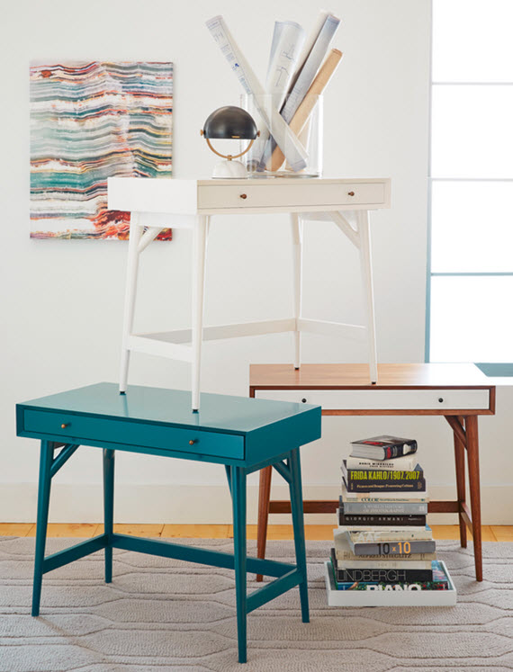 simple, colorful writing desks // west elm