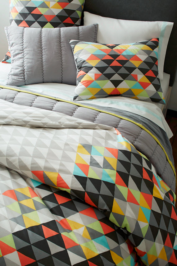colorful triangle pattern bedding // west elm