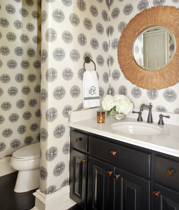 bathroom design by Tobi Fairley #wallpaper
