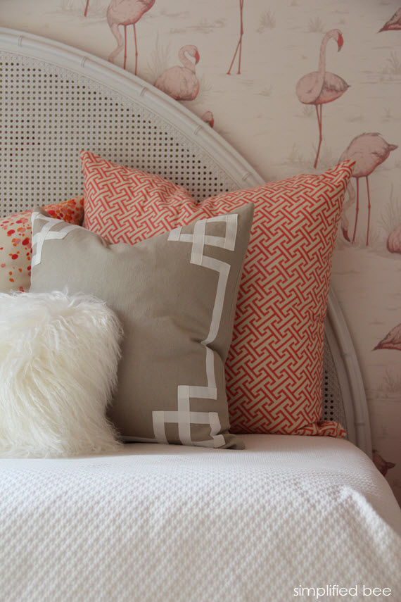 girls' bedroom with flamingo wallpaper and caitlin wilson textiles // simplified bee design
