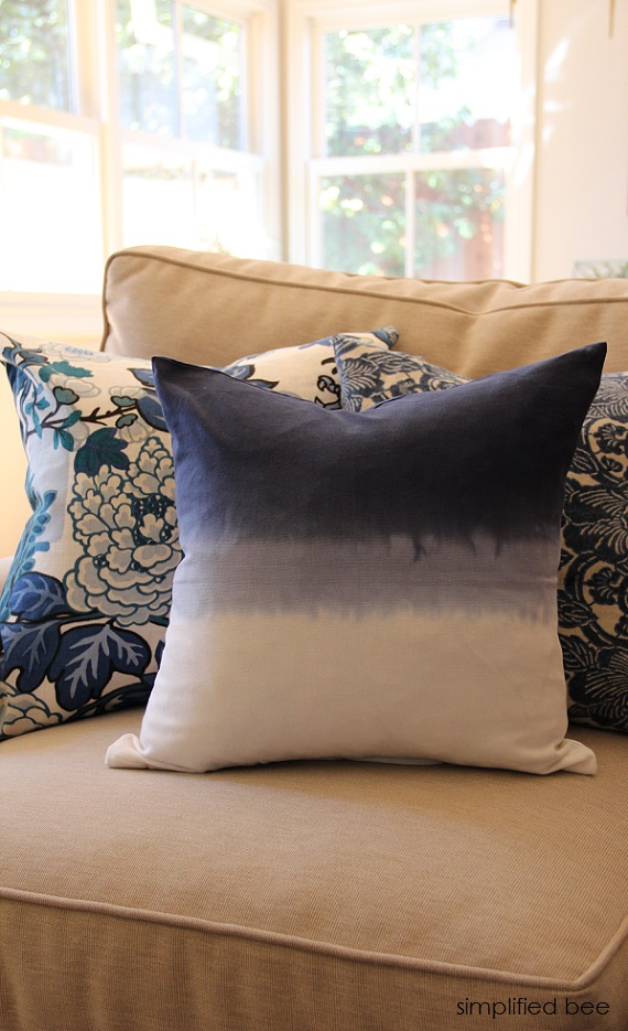 blue & white dip dye pillow // simplified bee