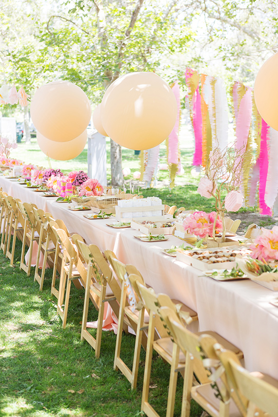 pink peony picnic birthday party table