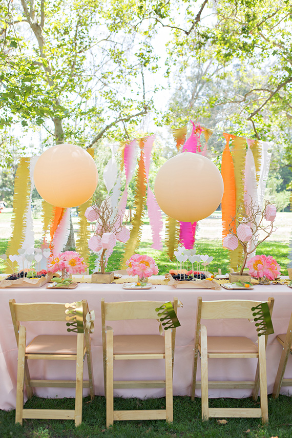 Simple table decorations for parties - Darling Pink Peonies Picnic Birthday Party Simplified Bee