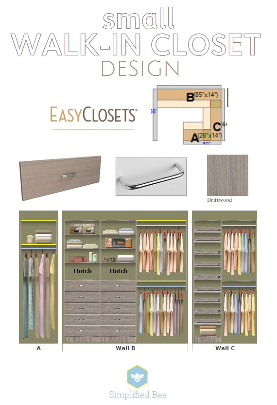 Small Walk In Closet Design EasyClosets Simplified Bee