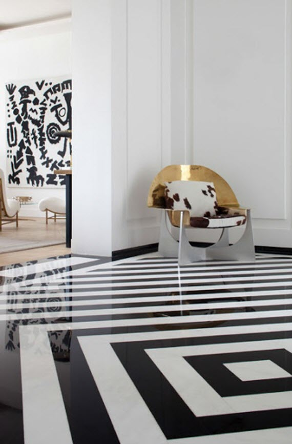 Kelly wearstler black and white floor simplified bee Interior tile floor designs