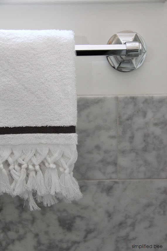 designer marble bathroom // chrome towel rack // cristin priest of simplified bee #bathrooms