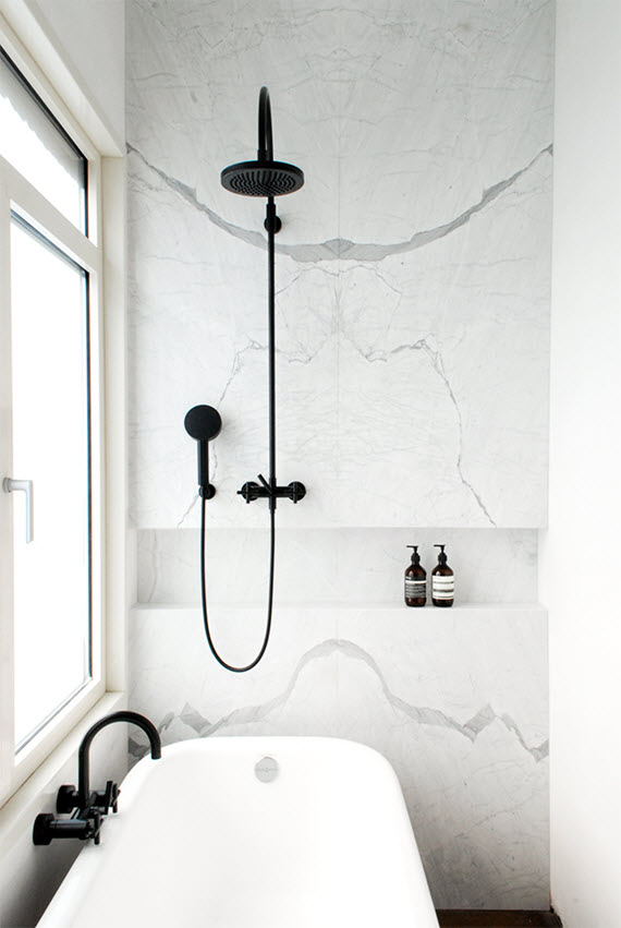 black and white marble bathroom #design