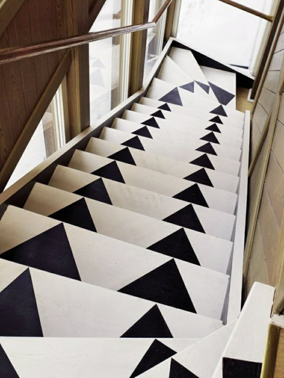 black and white painted staircase #triangles