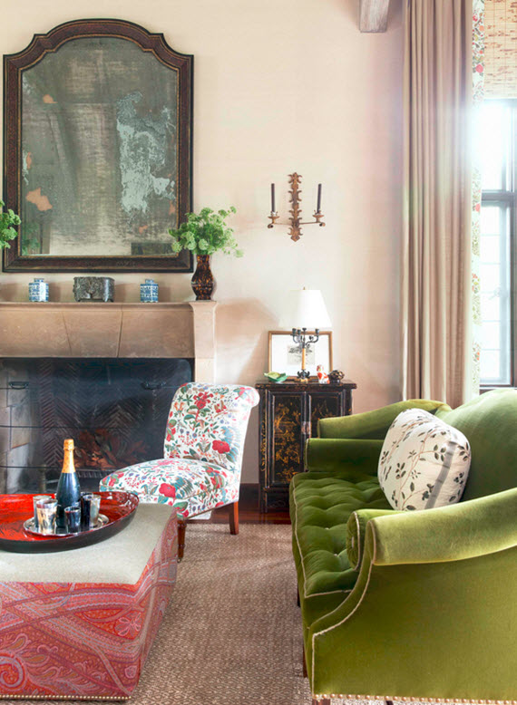 green velvet settee // great room // markham roberts #design #green