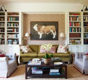 green velvet sofa // library // markham roberts