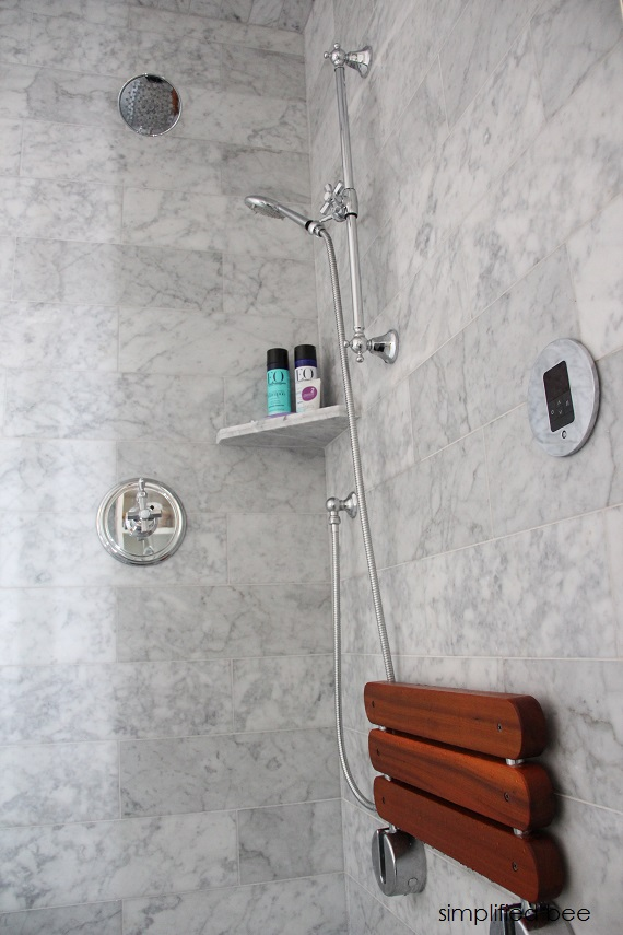 designer marble bathroom // steam shower // cristin priest of simplified bee #bathrooms