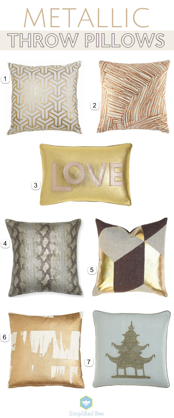 gorgeous metallic throw pillows // simplified bee #gold #metallic #pillows