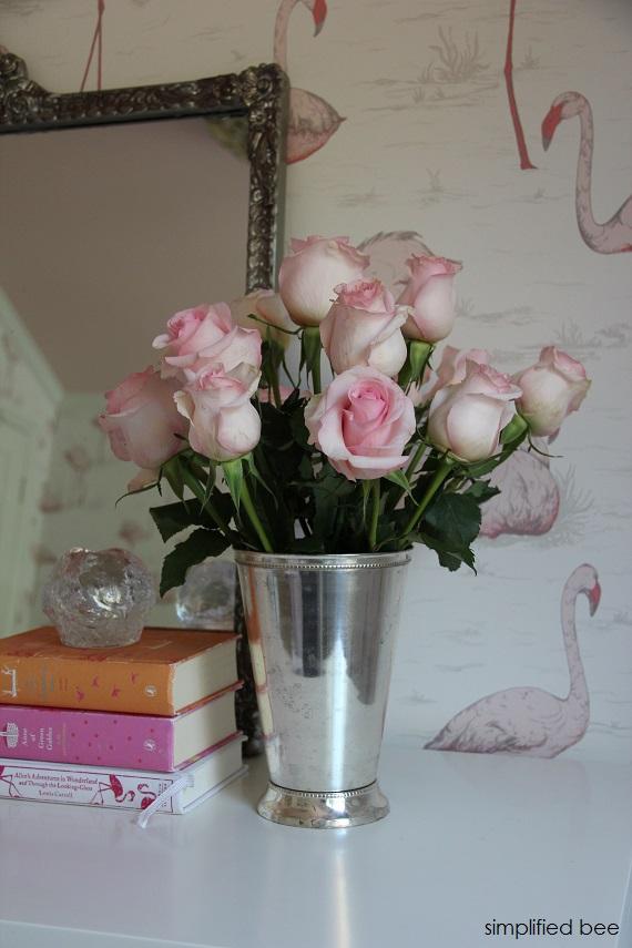 pretty pink roses // flamingo girls bedroom // simplifiedbee.com