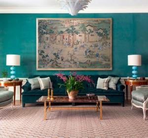 velvet turquoise walls // formal living room // markham roberts