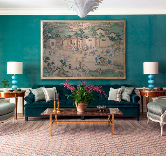 Turquoise Wall Living Room Markham Roberts Simplified Bee