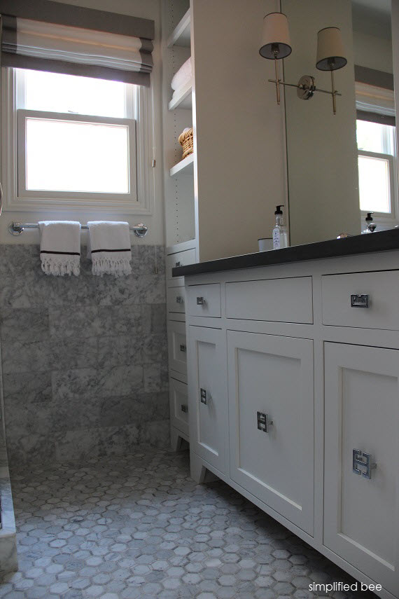 white bathroom vanity with gray countertop // cristin priest // www.simplifiedbee.com #bathrooms