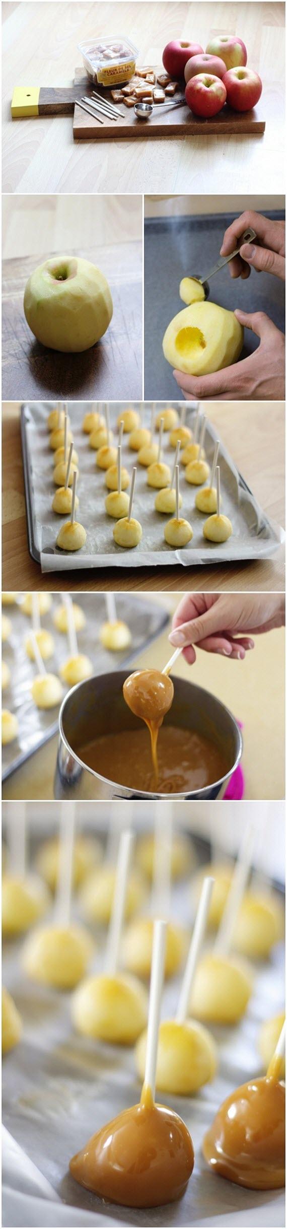 DIY mini carmel apples // halloween ideas #apples