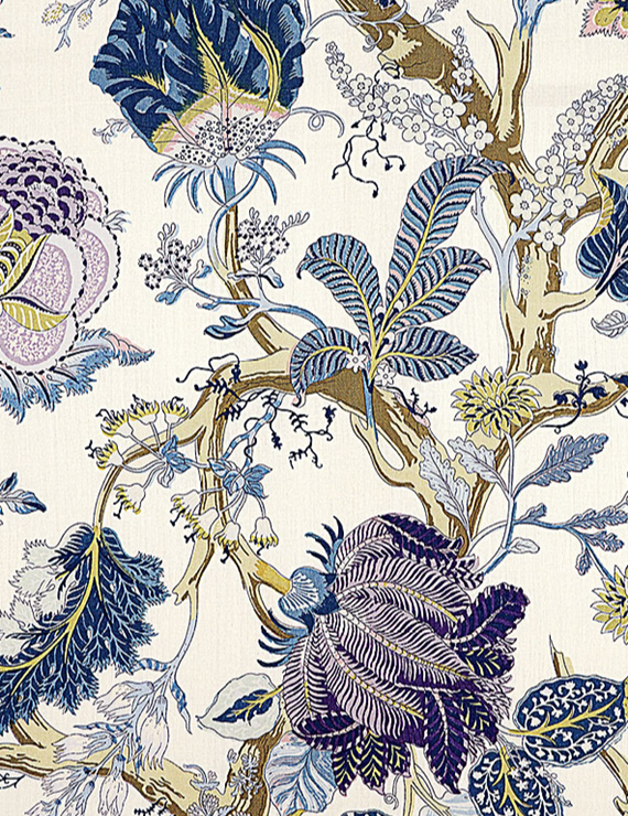 Indian Arbre Fabric // Schumacher 125th Anniversary Collection #textiles #blue