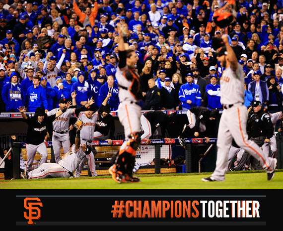 San Francisco Giants // World Series 2014 // MadBum and Posey #orangeoctober #sfgiants #championstogether
