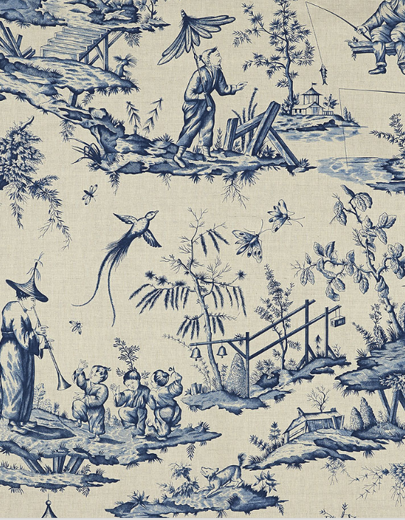 Shengyou Toile in indigo // Schumacher 125 Anniversary Fabrics #chinoiserie